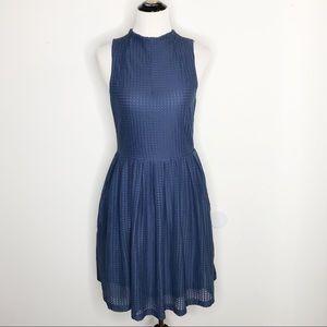 Anthro Deletta Blue Textured Sleeveless Dress